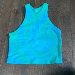 Garage high neck halter blue and green tie dye